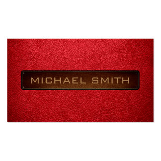 Alizarin crimson Leather Look Professional Pack Of Standard Business Cards