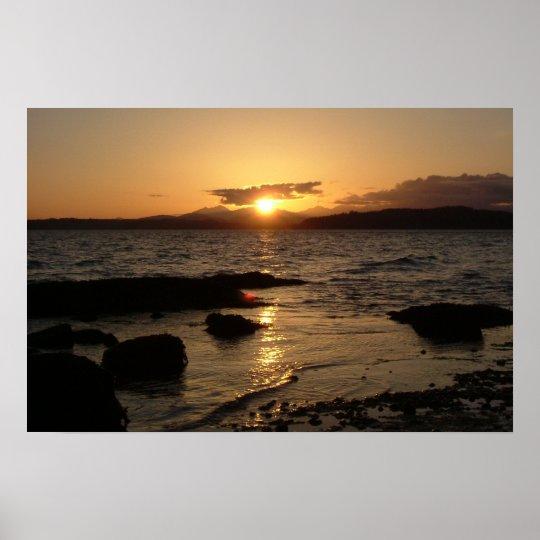 Alki Beach, Sunset Poster
