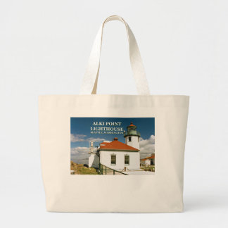 Alki Point Lighthouse, Seattle Washington Large Tote Bag
