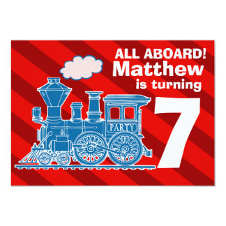 All aboard boys train birthday party invite