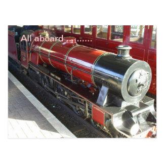 all aboard, steam engine postcard