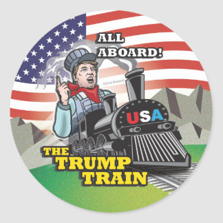 ALL ABOARD! The TRUMP TRAIN!! DONALD TRUMP USA #1! Round Sticker