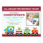 All Aboard Train Boy's Birthday Invitation (red)