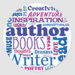 All About Authors blue Stickers