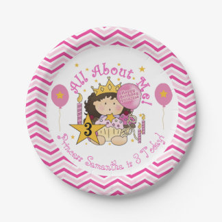 All About Me Princess 3rd Birthday Paper Plates 7 Inch Paper Plate