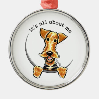 All About the Airedale Terrier Silver-Colored Round Decoration