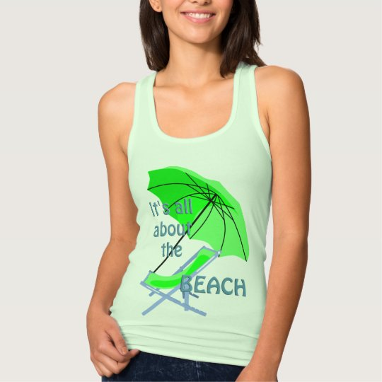 All About the Beach Ladies Green Spaghetti Top