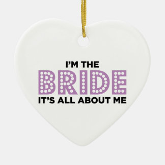All About the Bride Purple Ceramic Heart Decoration
