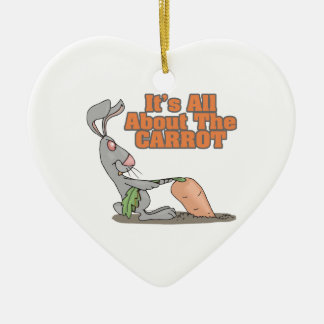 all about the carrot funny bunny rabbit cartoon christmas ornament