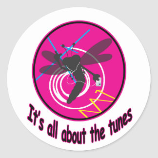 All about the tunes round stickers