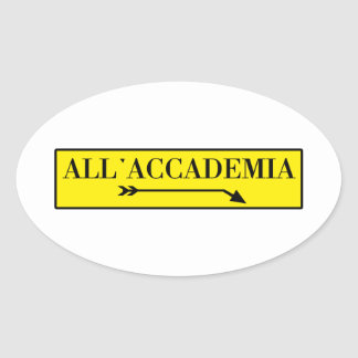 All Accademia Venice Italian Street Sign Oval Sticker