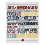 All American Backyard Barbecue Typography Poster