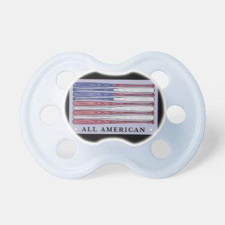 All American baseball bats flag baby pacifier