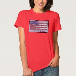 All American baseball bats flag ladies red tee