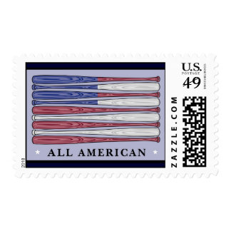 All American baseball bats flag postage stamps
