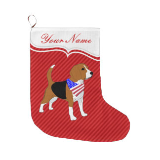 All American Beagle Patriotic Dog Large Christmas Stocking