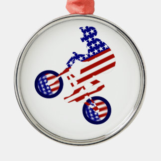 All-American BMX Rider Silver-Colored Round Decoration
