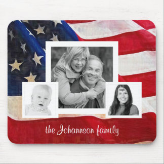 All American Family 3 Photos with US Flag Mouse Pads