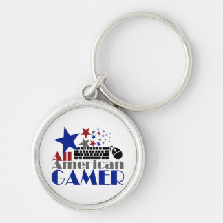All American Gamer Silver-Colored Round Key Ring