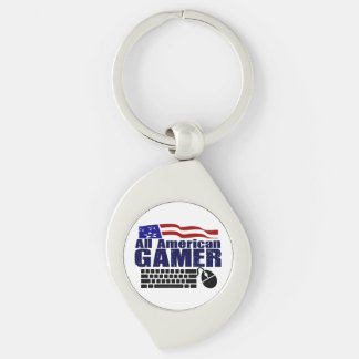 All American Gamer Silver-Colored Swirl Key Ring