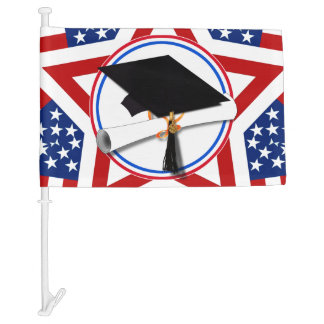 All American Grad - Red White & Blue Colors Car Flag