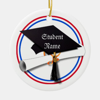 All American Grad - Red White & Blue Colors Round Ceramic Decoration