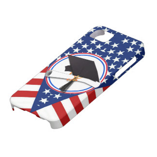 All American Grad - Red White & Blue on Stars Case For The iPhone 5