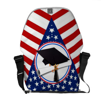 All American Grad - Red White & Blue on Stars Messenger Bag
