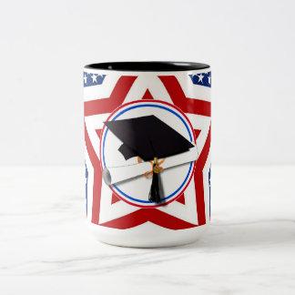All American Grad - Red White & Blue on Stars Two-Tone Coffee Mug