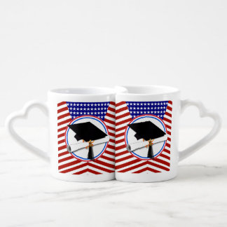 All American Grad - Red White & Blue on Stars Couple Mugs