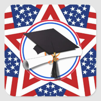 All American Grad - Red White & Blue on Stars Square Sticker