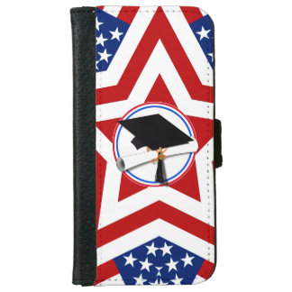 All American Grad - Red White & Blue on Stars iPhone 6 Wallet Case