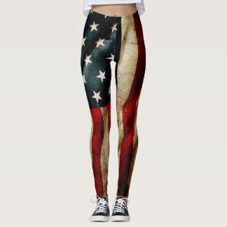 All American Grunge Flag Yoga Leggings