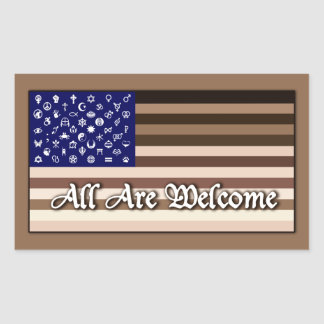 All Are Welcome Flag Rectangular Sticker