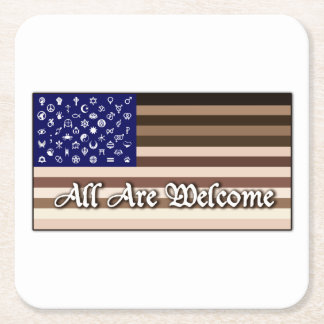 All Are Welcome Flag Square Paper Coaster