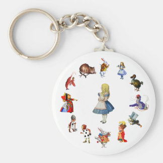 ALL AROUND ALICE IN WONDERLAND BASIC ROUND BUTTON KEY RING