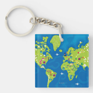 All Around the World Double-Sided Square Acrylic Key Ring