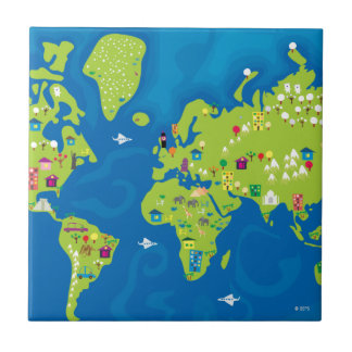 All Around the World Small Square Tile