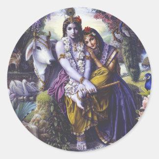 All-Attractive Couple Radha Krishna Classic Round Sticker
