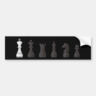All black one white chess pieces bumper sticker