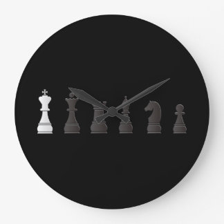 All black one white, chess pieces large clock