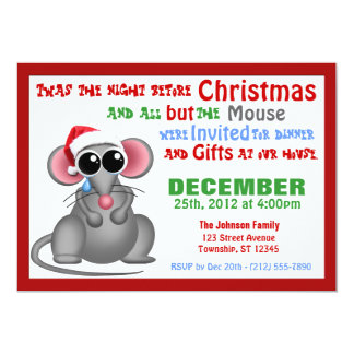 """All but the Mouse - Christmas Dinner Invitations 5"""" X 7"""" Invitation Card"""