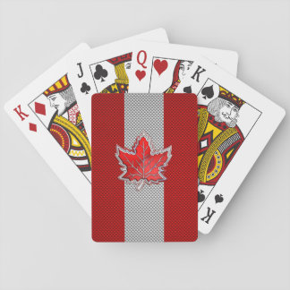 All Canadian Red Maple Leaf on Carbon Fiber Print Playing Cards