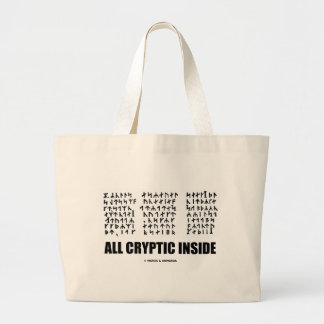 All Cryptic Inside (Jules Verne Runic Cryptogram) Large Tote Bag