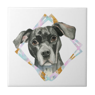 """""""All Ears"""" Pit Bull Dog Watercolor Painting Tile"""