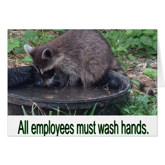 All employees must wash hands card