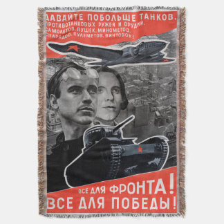 All For Victory! Soviet Propaganda Throw Blanket