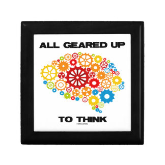 All Geared Up To Think (Gears Brain) Small Square Gift Box