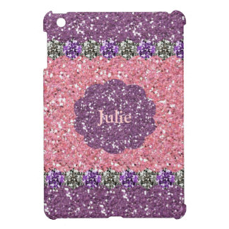 All Girl Pink Purple Glitter Gem Look Personalized iPad Mini Cover