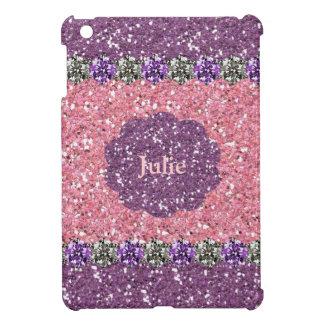 All Girl Pink Purple Glitter Gem Look Personalized iPad Mini Covers